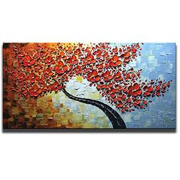 Asdam Art Maple Tree 100% Hand Painted Paintings Red Picture