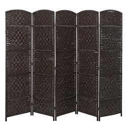 Handwoven Bamboo 5 Panel Partition Semi-Private Room Divider