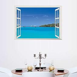 BIBITIME Hawaii Style Sea View Fake Window Wall Decal Island