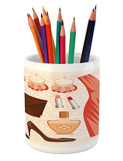 Ambesonne Heels and Dresses Pencil Pen Holder, Accessories F