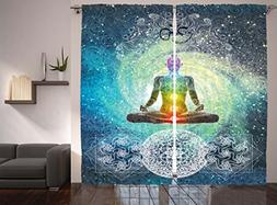Ambesonne Hippie Curtains Bohemian Mandala Yoga Zen Yoga Dec
