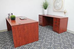 """Boss Office Products Holland 66"""" Executive Desk and Credenza"""