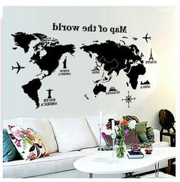 Home Bedroom Office Countries Words World Map Wall Sticker A