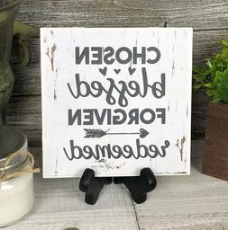 Home Decor Sign Blessed Forgiven Home Office Ceramic Tile w/