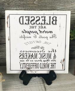 Home or Office Decor Sign Ceramic Tile w/ Easel Blessed Are