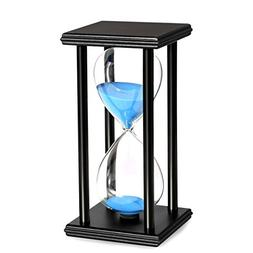 BOJIN 60 Minute Hourglass Sand Timer Wooden Black Stand Hour