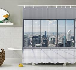 Ambesonne House Decor Shower Curtain Set, Clean Office with