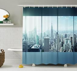 Ambesonne House Decor Shower Curtain Set, Aerial View of A B