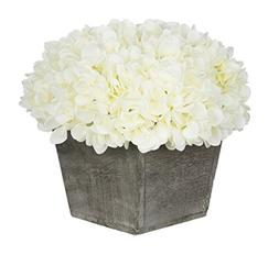 House of Silk Flowers Artificial Hydrangea in Grey-Washed Wo