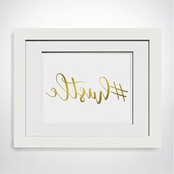 Hustle, Real Gold Foil Print, Foiled Office Decor, Boss Gift