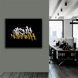 Hustle Harder Motivational Wall Canvas Art Office Decor Entr