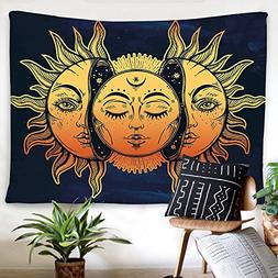 BLEUM CADE Psychedelic Tapestry Indian Moon Sun Many Fractal