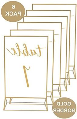 Gold-Accented 5x7 Inch Acrylic Photo Double-Sided Frames | P