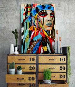 Indian Chief Stretched Canvas Print Framed Wall Art Home Off