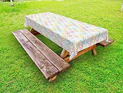 Ambesonne Indie Outdoor Tablecloth, Colorful Pattern with Cl