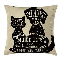 Ambesonne Inspirational Throw Pillow Cushion Cover, Cat and