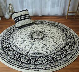 Ivory Traditional Persian Vintage Area Rugs 5x5 Round Rugs 5
