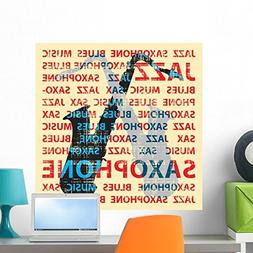 Wallmonkeys Jazz Saxophone Wall Decal Peel and Stick Graphic