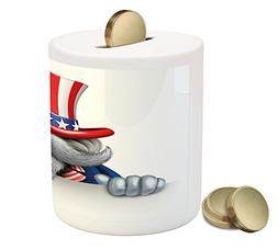 Ambesonne 4th of July Piggy Bank, Uncle Sam Hat Wearing Cat