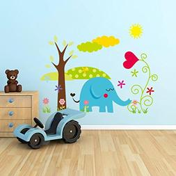 BIBITIME Jungle Animal Wall Decal Blue Elephant Sun Sky Tree
