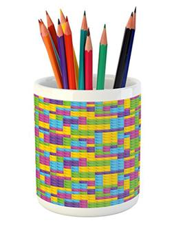 Ambesonne Kids Pencil Pen Holder, Colorful Plastic Construct