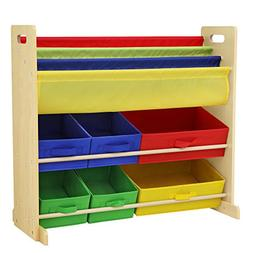 SONGMICS Kids' Toy Storage Unit Sling Bookcase Rack with 6 F