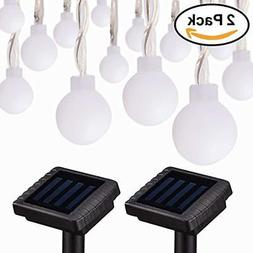 Kinna Solar Outdoor String Lights 30ct Frosted Globes Warm W