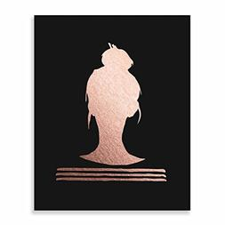 Top Knot Silhouette Rose Gold Foil on Black Matte Paper Prin
