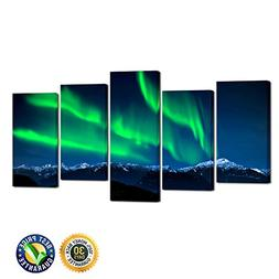 Kreative Arts- 5 Piece Wall Art Painting Northern Lights Ove