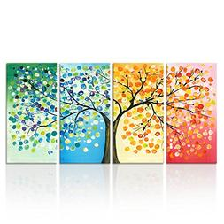Kreative Arts - 4 Seasons Colorful Lucky Tree Painting Canva
