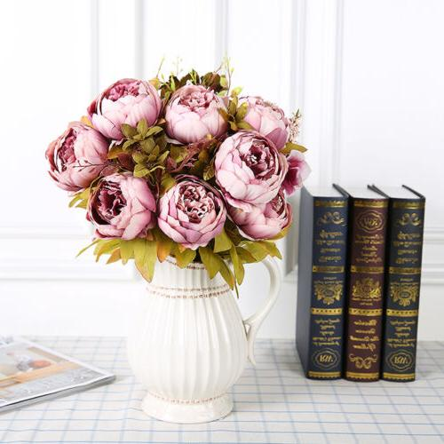Artificial Silk Peony Flowers Bouquets for Wedding Party Off