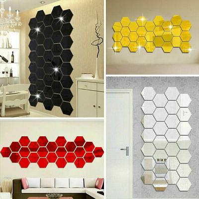 12pcs 3d mirror wall stickers hexagon removable