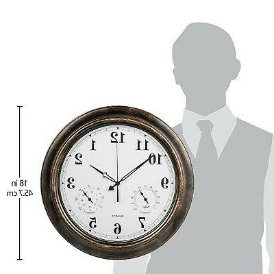 SkyNature 18 Outdoor Wall Clock with Temperature