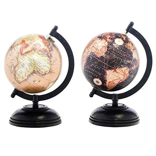 2 Decorative Glossy Globes Wooden for Office Desktop 5 Inch Diameter by Boutique