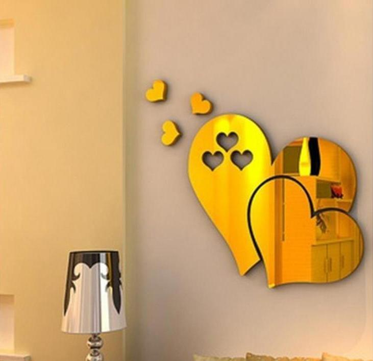 3D Mirror Love Heart Wall Sticker Room Office Decor Removable
