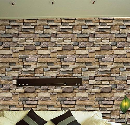 """BIBITIME 17.71"""" x 3D Natural Wall for Room Porch Office Vinyl"""