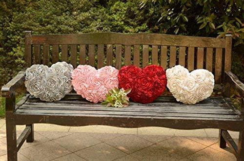 JWH 3D Handmade Rose Flowers Accent Suede Heart Shape Home Living Decor Travel Lover Girl Gift Inch