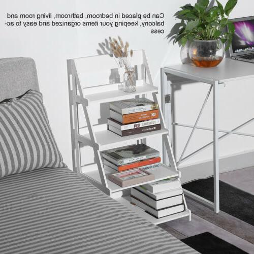4-Tier Bookshelf Bookcase Display Leaning Home