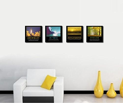 4Pcs Motivational Quotes Motto Inspirational Canvas Stretched Wood Combine Art For Room Wall Print Decor 12x12""