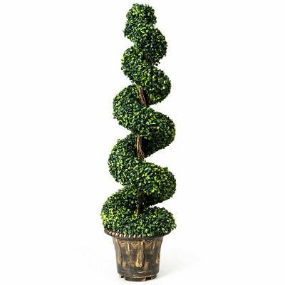 4Ft Fake Boxwood Spiral Topiary Tree Artificial Plant Home O