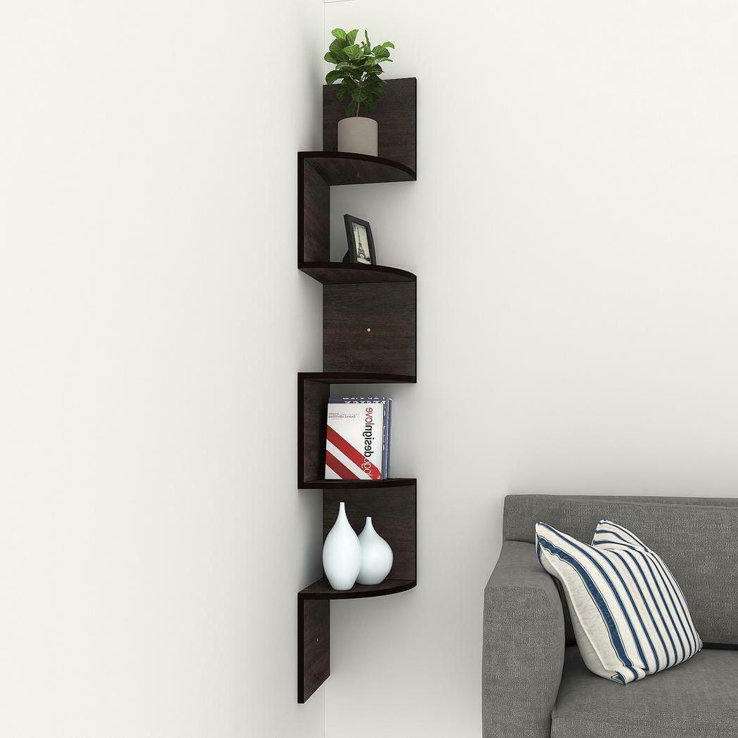 5-Shelf White Bookcase Wood Storage Leaning Home Office