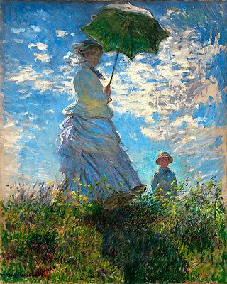 5469 monet woman with umbrella on field