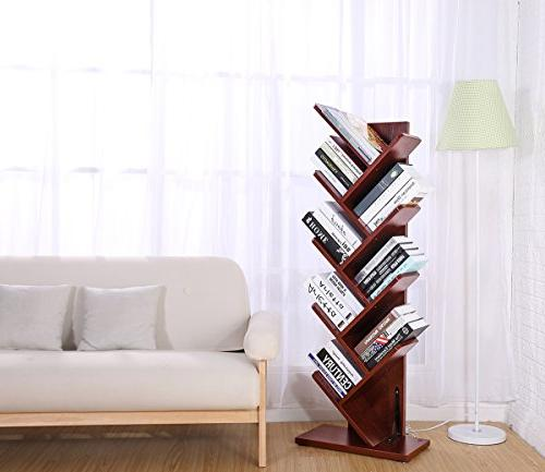 | Rack Bookcase Display Storage Furniture Movies & Books Cherry