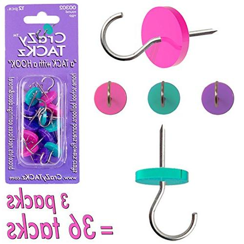 Crazy Tackz Violet, Green & Pink 3Pk=36 Tacks • Decorate O