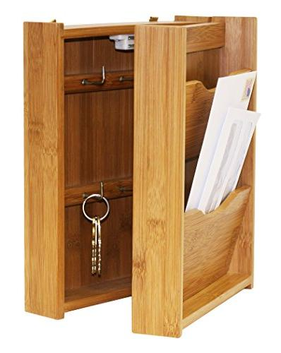Home Basics Letter Rack with Key Box, Bamboo
