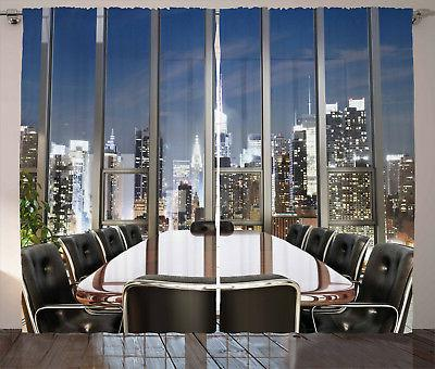 Office Decor Curtains Business Room City Window Drapes 2 Pan