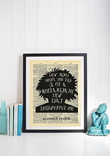 Albert Einstein Imagination Dictionary Vintage Prints Wall Decor Decorations For Living Room Ready-to-Frame