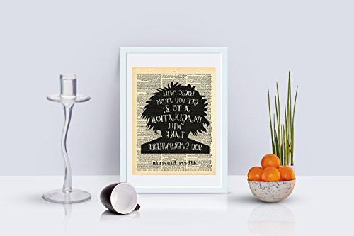 Albert Einstein Imagination Dictionary Print 8x10 inch Vintage Abstract Wall Decor Wall Living Room Ready-to-Frame