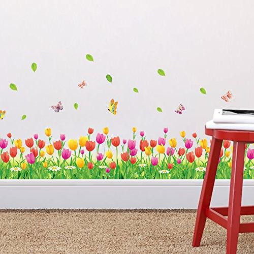 Amaom Removable Tulip Flowers With Butterfly Wall Murals art Decor Wall Wall Corner Living room room Classroom