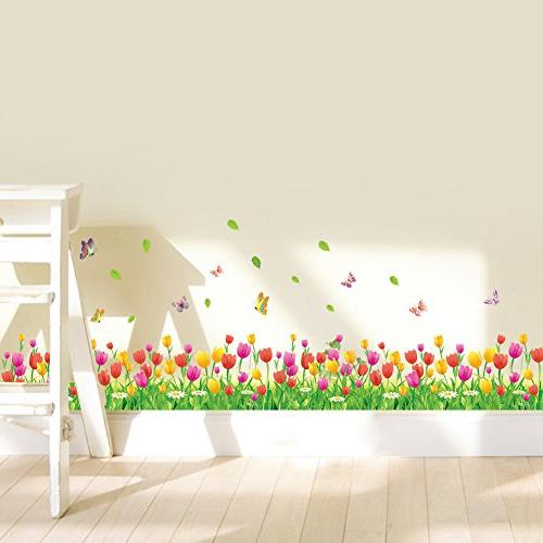 Amaom Removable Colorful Tulip With Wall Decals Wall Corner Living room Offices room Classroom